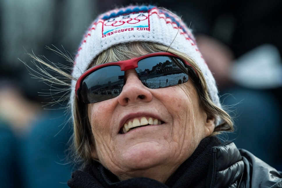 (Chris Detrick | The Salt Lake Tribune) Jean Schaefer cheers on Team USA bobsledders at Olympic Sliding Centre during the Pyeongchang 2018 Winter Olympics Saturday, Feb. 24, 2018.