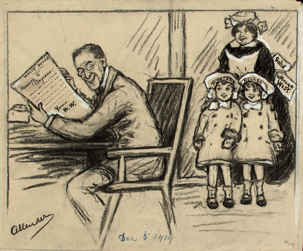 (Courtesy of National Woman's Party) Nina Allender regularly included President Woodrow Wilson in her cartoons, including this one from 1914, encouraging him to include votes for women in his message.