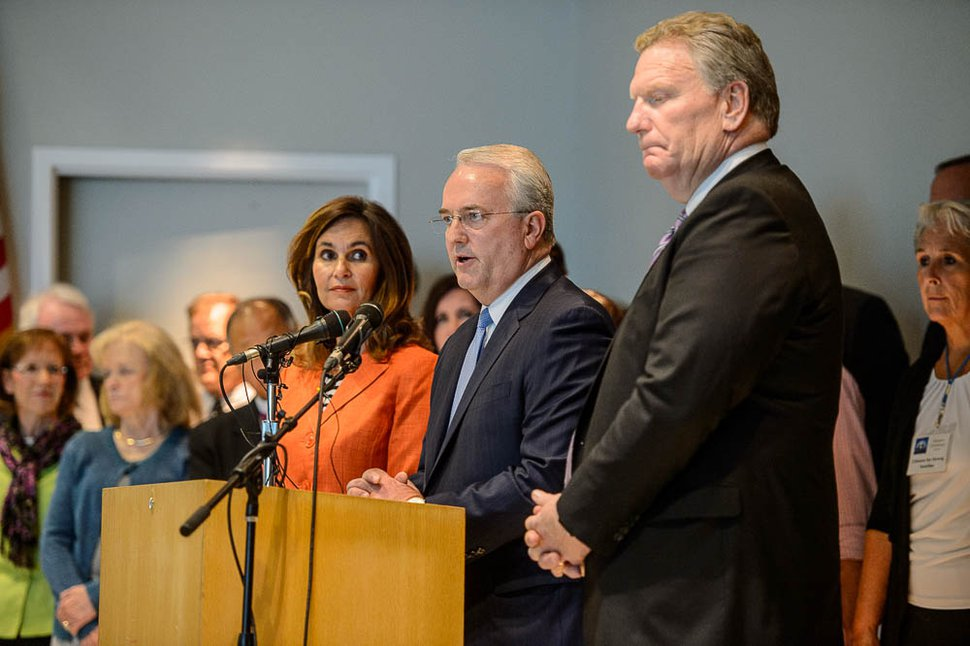 (Trent Nelson   The Salt Lake Tribune) Jack Gerard of the LDS Church, with Lisa Harkness and Craig Christensen, announces the church's opposition to Utah's medical marijuana initiative at a news conference in Salt Lake City, Thursday Aug. 23, 2018.