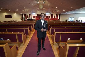 (Photo courtesy of Calvary Baptist Church)  The Rev. Oscar Moses, pastor of Calvary Baptist Church, Thursday, Sept. 17, 2020, in Salt Lake City.  The church is being used as a vaccination center to reach Black congregants.