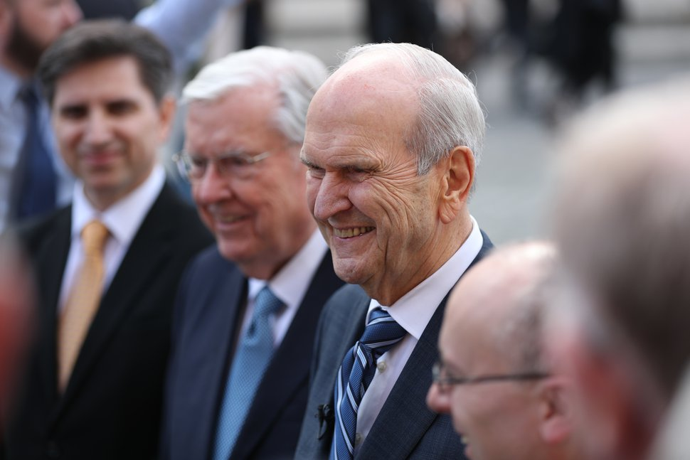 (Photo courtesy of The Church of Jesus Christ of Latter-day Saints) President Russell M. Nelson and President M. Russell Ballard visited with Pope Francis in the Vatican on Saturday, March 9, 2019. They discussed mutual concerns — religious freedom, helping people in need and the family.