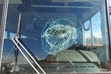 (Photo courtesy of Steve Dunham, St. George News) Damage from a soda bottle thrown at the windshield of a school bus on South 3000 East, in St. George, Utah, Oct. 7, 2021. |