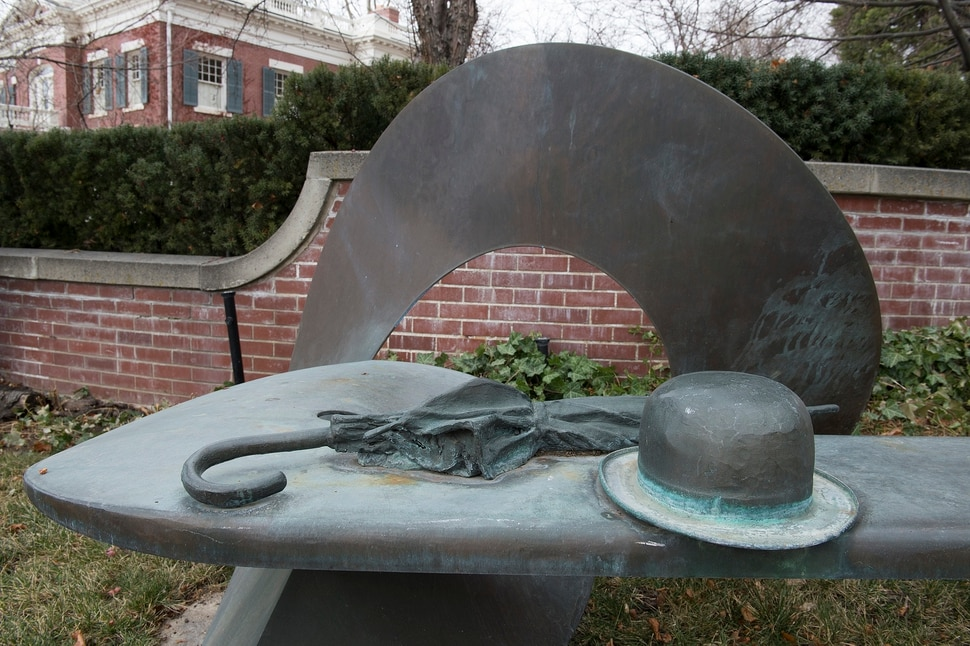 (Scott Sommerdorf | The Salt Lake Tribune) The bench at South Temple and T Street created by Utah sculptor Richard Johnston, Wednesday, December 20, 2017.
