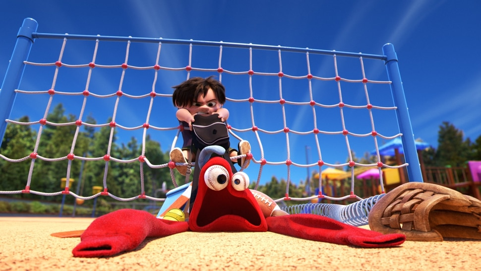 (Courtesy Pixar Animation Studios/Walt Disney Pictures) A collection of lost-and-found objects has a showdown with a playground bully in Pixar's Lou, one of the five nominated films in the Animated Short Film category at the 90th annual Academy Awards.