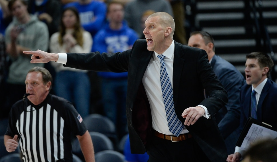 (Francisco Kjolseth | The Salt Lake Tribune) Head coach for BYU Mark Pope yells to his team as BYU takes on UNLV in men's NCAA basketball at Vivint Smart Home Arena in Salt Lake City on Sat. Dec. 7, 2019.