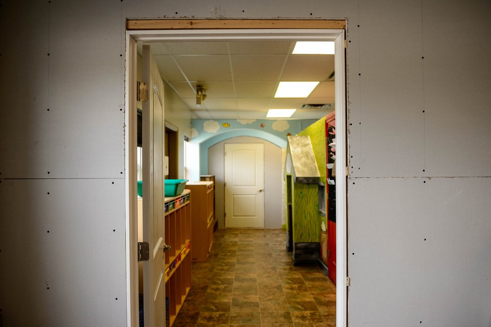(Trent Nelson | The Salt Lake Tribune) Imagination Time Childcare and Preschool in Marriott-Slaterville has installed walls and doors to separate classrooms during COVID-19. Tuesday, May 12, 2020.