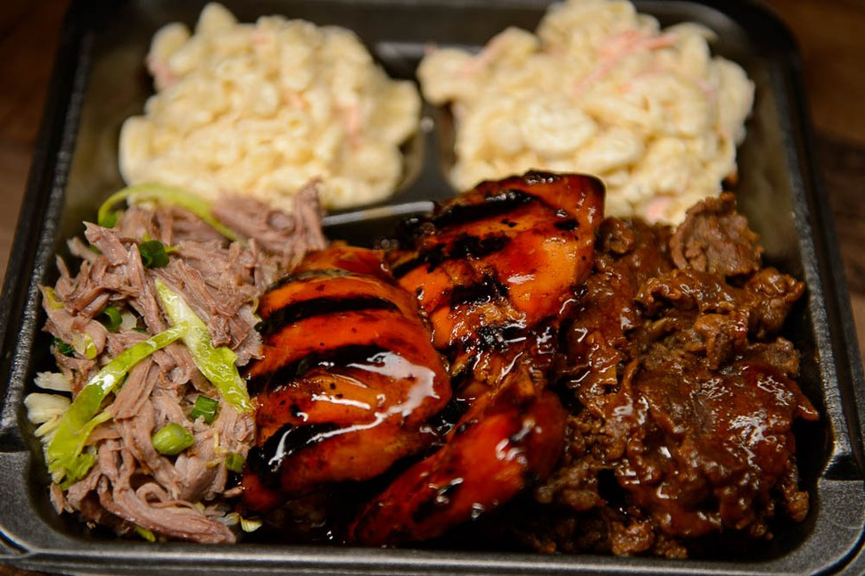 (Trent Nelson | The Salt Lake Tribune) Three-meat combination plate — teriyaki steak, teriyaki chicken and Kalua pork, at Sagato Bakery and Cafe, a new Polynesian eatery in Midvale.