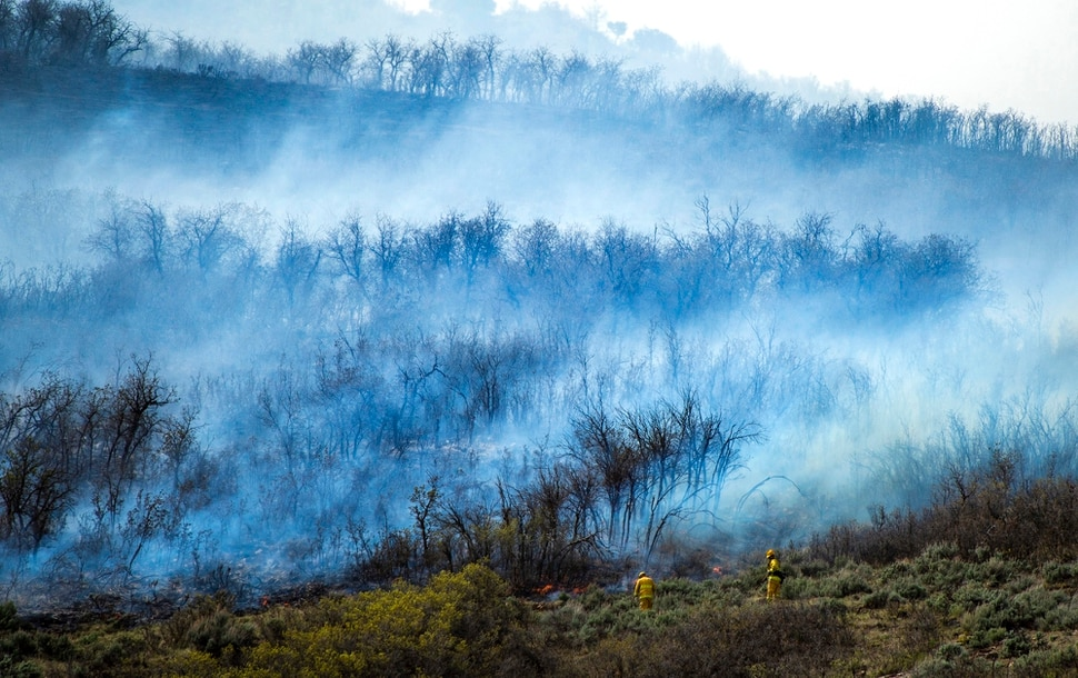 (Rick Egan   The Salt Lake Tribune) Firefighters battle a fire near the Dutch Canyon Road in Midway, Tuesday May 12, 2020