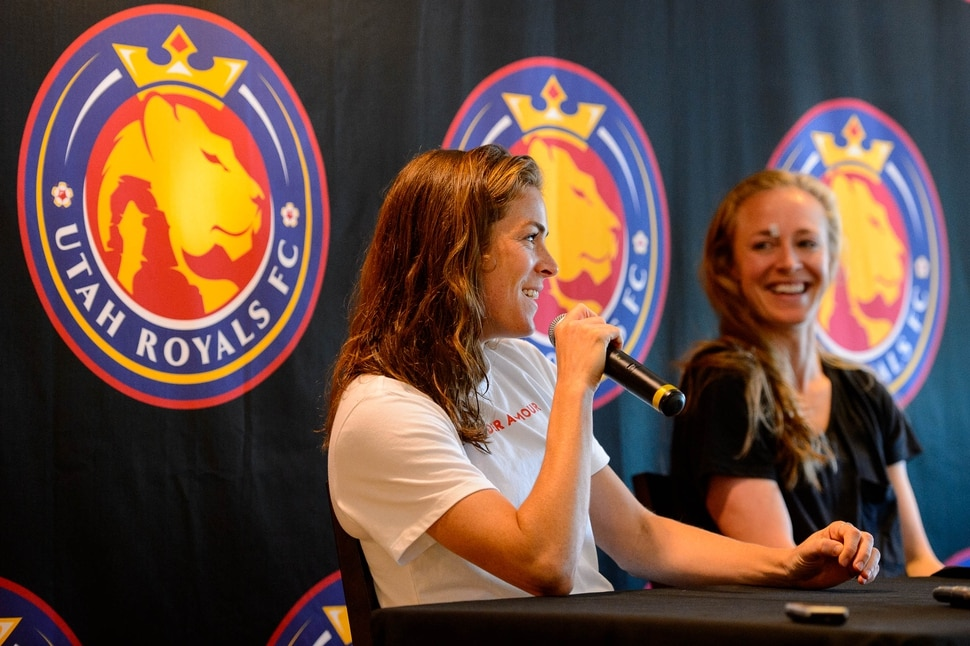 (Trent Nelson | The Salt Lake Tribune) Utah Royals defenders Kelley O'Hara and Becky Sauerbrunn speak about their World Cup experiences at a news conference in Sandy on Wednesday July 17, 2019.