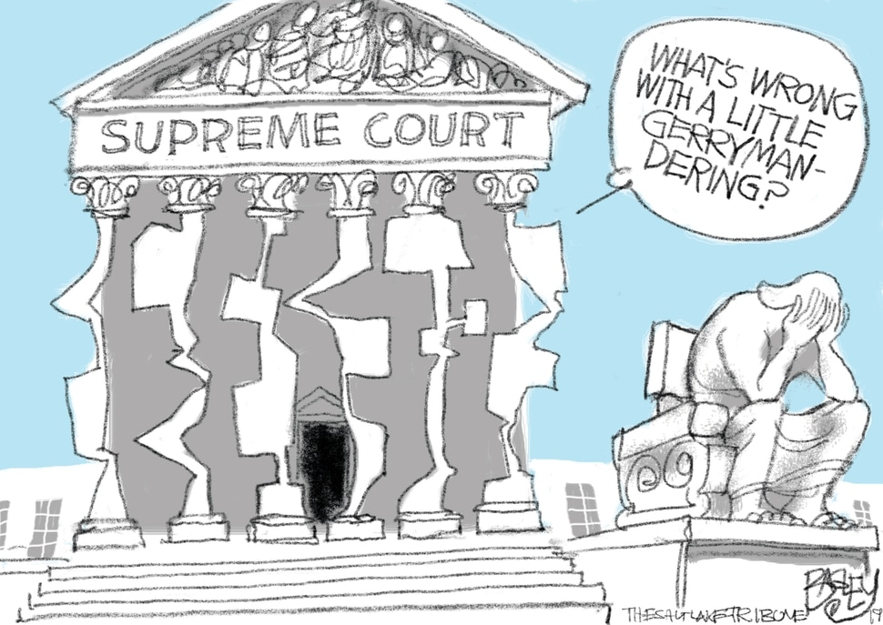 (Pat Bagley | The Salt Lake Tribune) This Pat Bagley cartoon, titled Pillars of Democracy, appears in The Salt Lake Tribune on Friday, June 28, 2019.