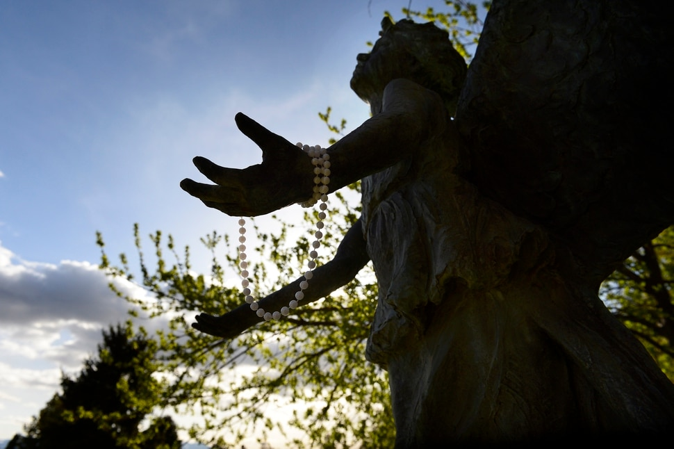(Scott Sommerdorf | The Salt Lake Tribune) The Christmas Box Angel at the Salt Lake City Cemetery, Friday, April 13, 2018. The cemetery is historic, beloved by relatives, neighbors, nature and recreation lovers -- and needs about $27 million in repairs, improvements and financial aid. The city is reviewing a master plan to make fixes and improvements.