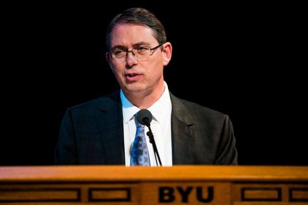 (Photo courtesy of BYU) Benjamin Ogles, dean of Brigham Young University's College of Family Home and Social Sciences, stressed the importance of getting affirmative consent before physical and sexual contact, as part of a devotional on Tuesday, Jan. 30, 2018