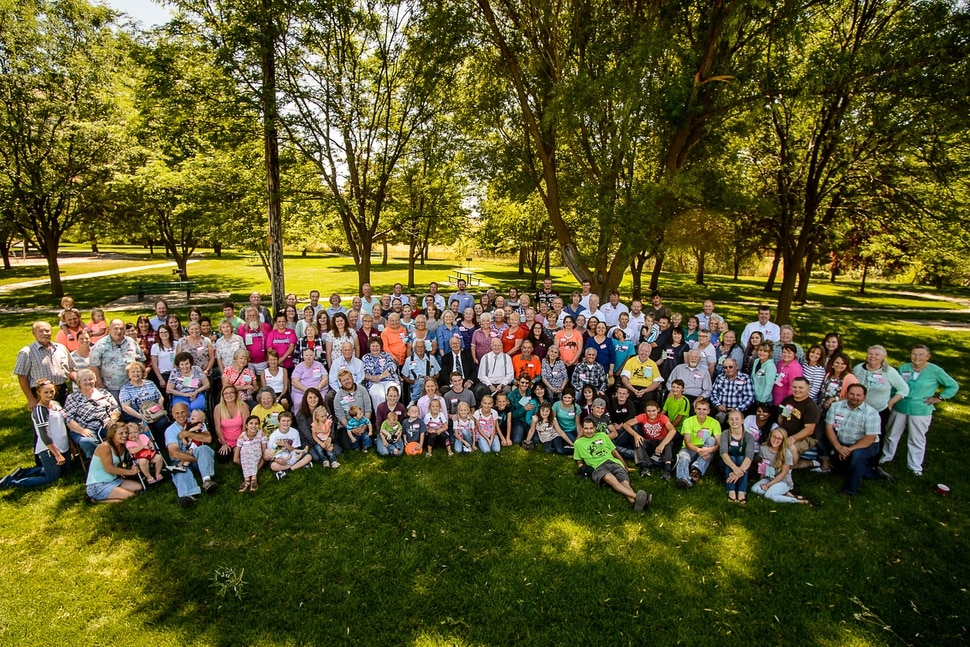 (Trent Nelson | The Salt Lake Tribune) The family portrait at the Jessop Family International Reunion in Millville Saturday August 12, 2017.