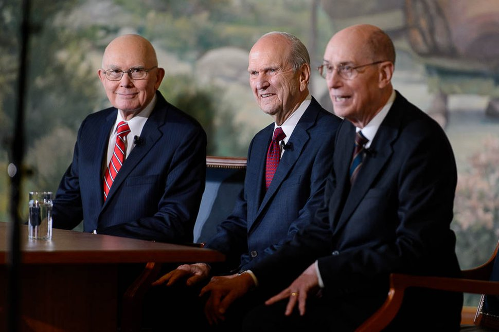 (Trent Nelson | The Salt Lake Tribune) Dallin H. Oaks, Russell M. Nelson and Henry B. Eyring at a news conference in the lobby of the Church Office Building in Salt Lake City, Tuesday, Jan. 16, 2018. Nelson was named the 17th president of the nearly 16 million-member Church of Jesus Christ of Latter-day Saints. Oaks was named first counselor in the First Presidency and Eyring second counselor.
