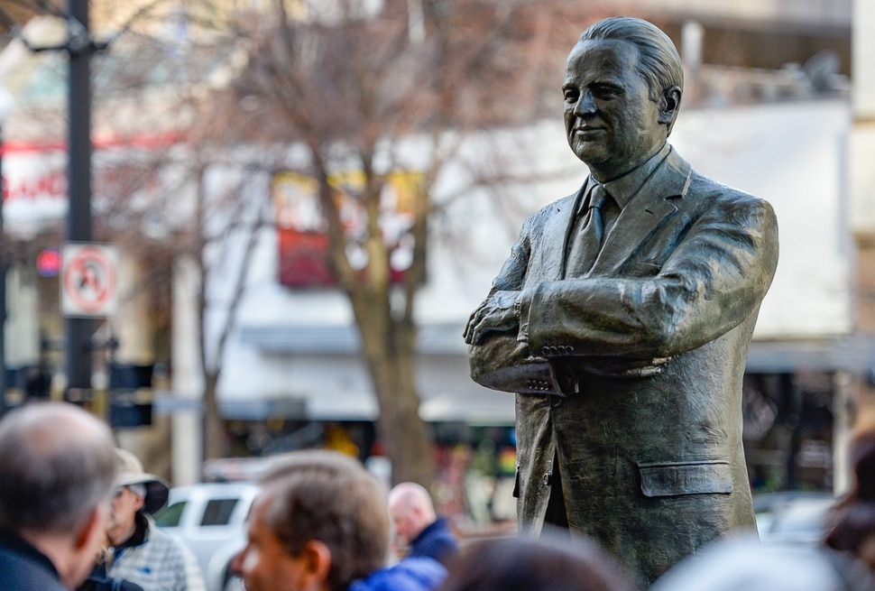 (Francisco Kjolseth | The Salt Lake Tribune) An eight-foot bronze statue celebrating Vasilios Priskos' life and community contributions is unveiled on Friday, Jan. 3, 2020, along Main Street in Salt Lake City at the entrance of Vasilios Priskos Walkway. As the founder of Internet Properties, a major downtown property owner, developer, real estate magnate and advocate for historic preservation and downtown Salt Lake City's continued development, Vasilios helped shape the city that he loved. He passed away in 2017 after a long battle with cancer.
