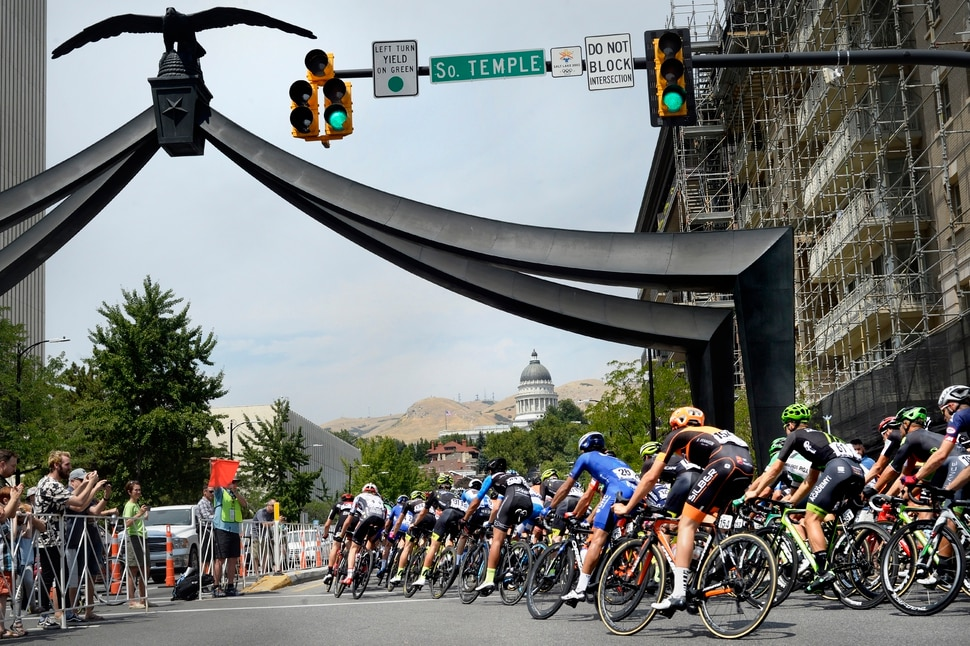(Scott Sommerdorf | The Salt Lake Tribune) Riders make the turn onto State Street and head toward the uphill climb to the Capitol. Robert Britton is the winner of the 2017 Tour of Utah, Sunday, August 6, 2017.