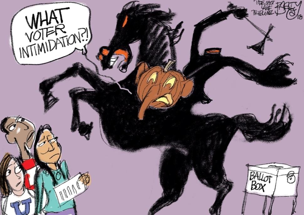 (Pat Bagley | The Salt Lake Tribune) This cartoon by Pat Bagley appears in The Salt Lake Tribune on Wednesday, Oct. 31, 2018.