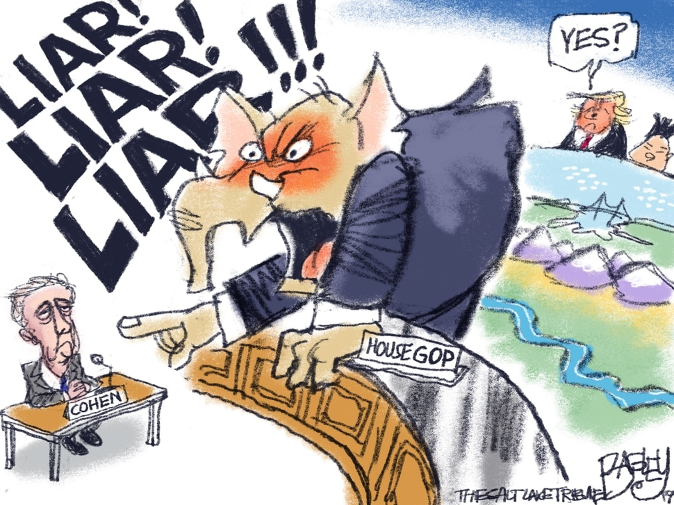 This Pat Bagley cartoon appears in The Salt Lake Tribune on Thursday, Feb. 28, 2019.