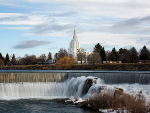 (Photo courtesy of The Church of Jesus Christ of Latter-day Saints) The Idaho Falls Temple near the banks of the Snake River.