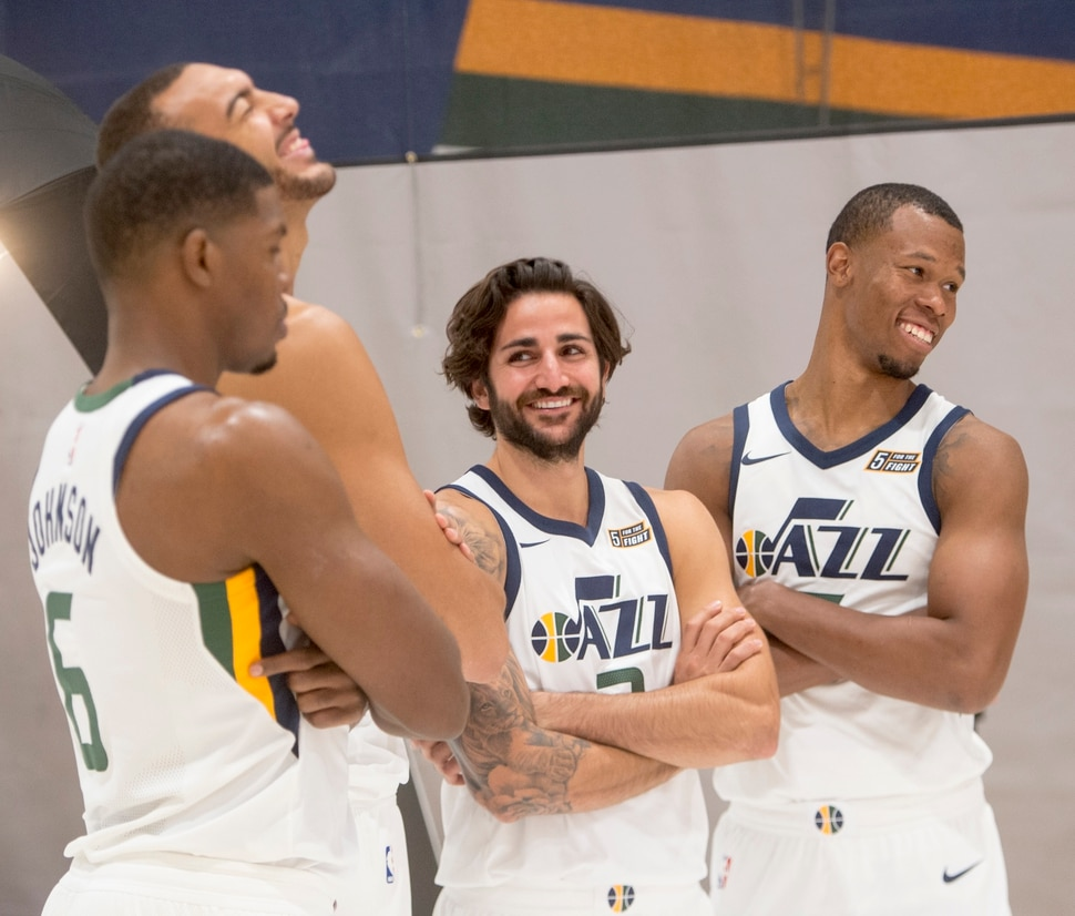 (Rick Egan | The Salt Lake Tribune) Utah Jazz players Joe Johnson, Rudy Gobert, Ricky Rubio, and Rodney Hood share a laugh, during the Utah Jazz media day, at the Zions Bank Basketball Center, Monday, September 25, 2017.