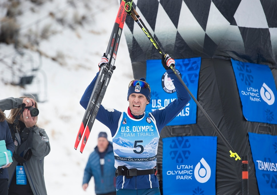 (Scott Sommerdorf | The Salt Lake Tribune) Bryan Fletcher reacts as he heads toward the winners podium after winning the Nordic Combined Olympic Trials in Park City, Saturday, December 30, 2017.