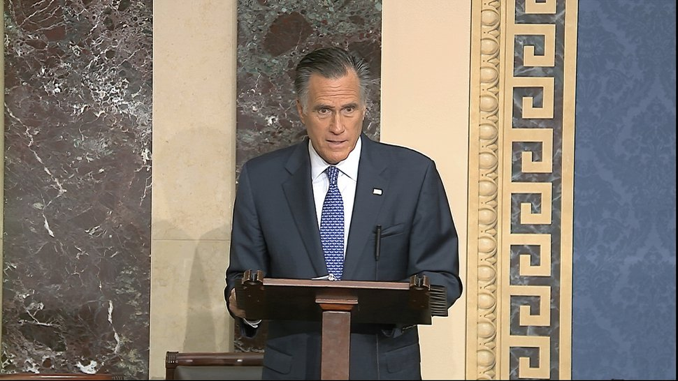 (Senate Television via AP) In this image from video, Sen. Mitt Romney, R-Utah, speaks on the Senate floor about the impeachment trial against President Donald Trump at the U.S. Capitol in Washington, Wednesday, Feb. 5, 2020. Romney voted to convict Trump on one article of impeachment.