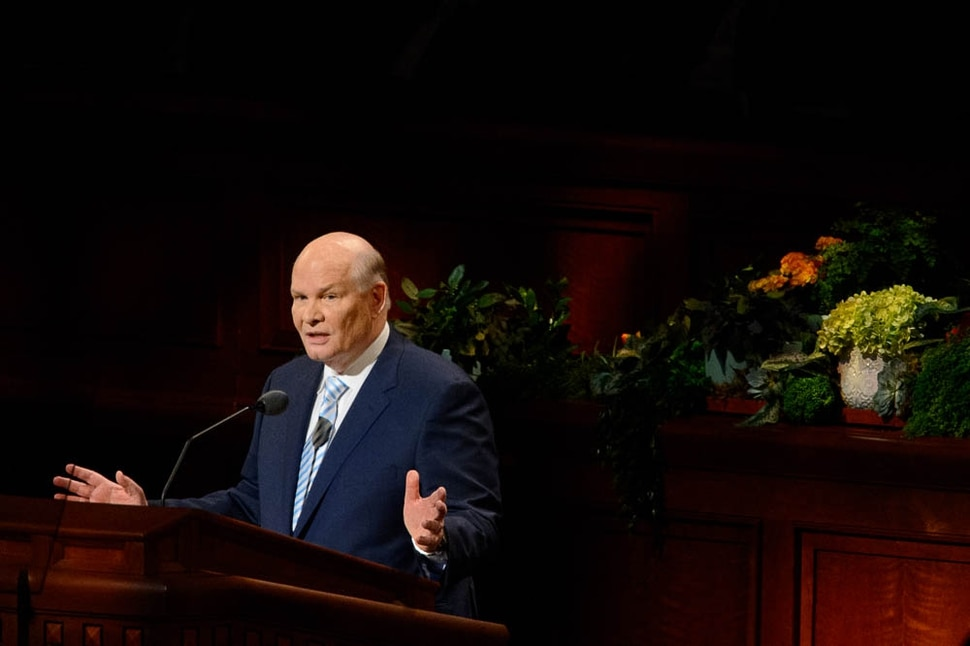 (Trent Nelson | The Salt Lake Tribune) Elder Dale G. Renlund speaks during the morning session of the189th Annual General Conference of The Church of Jesus Christ of Latter-day Saints in Salt Lake City on Sunday April 7, 2019.