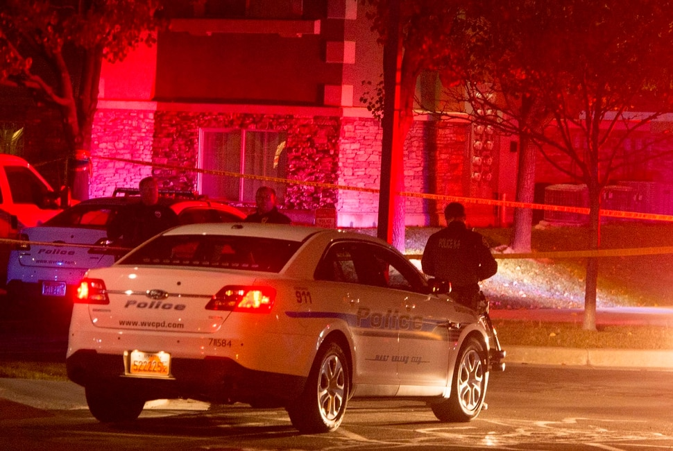 (Rick Egan   The Salt Lake Tribune) Police investigate a shooting at the Village at Rivers Edge Apartment complex in West Valley, City, Tuesday, November 7, 2017.
