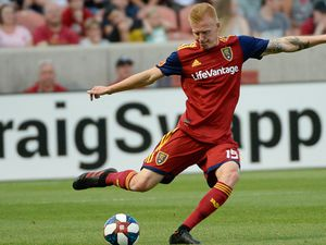 (Francisco Kjolseth  |  The Salt Lake Tribune)  Real Salt Lake defender Justen Glad (15) sends the ball downfield as Real Salt Lake hosts Columbus Crew SC, in MLS Soccer at Rio Tinto Stadium in Sandy, Utah on Wed, July 3, 2019.