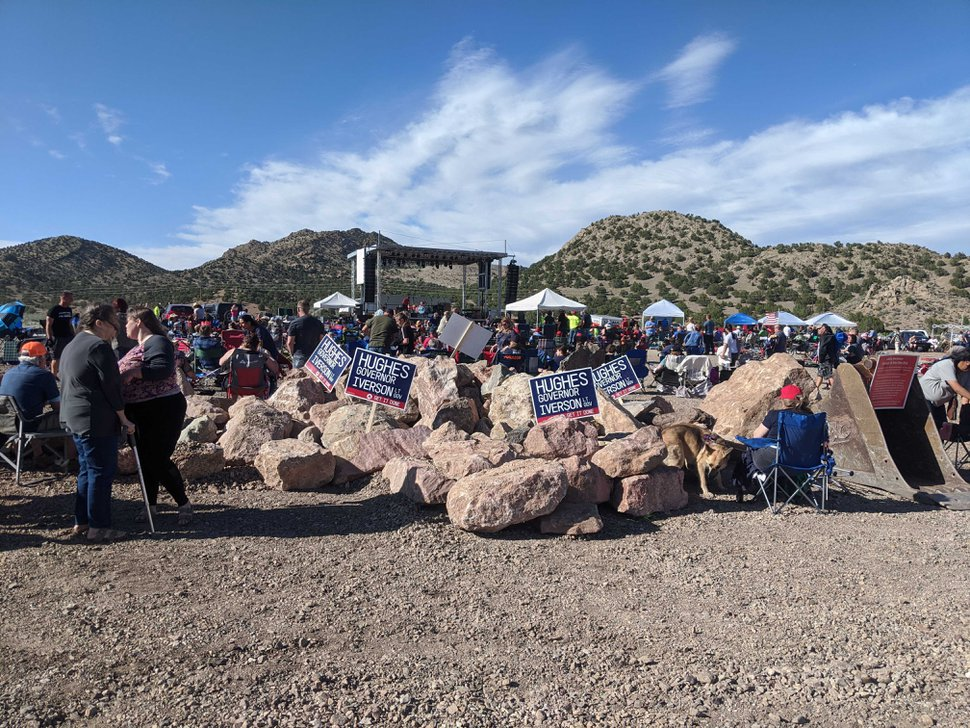 (Connor Sanders | The Salt Lake Tribune ) Concertgoers gathered at the Iron Springs Resort Saturday afternoon to await a twice-canceled concert by country singer Collin Raye, organized by Utah Business Revival leader Eric Moutsos to protest COVID-19 restrictions.