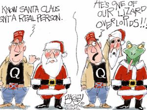 "(Pat Bagley | The Salt Lake Tribune) This cartoon, titled ""Ho Ho Herpetology,"" appears in The Salt Lake Tribune on Wednesday, Dec. 23, 2020."
