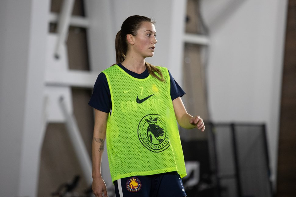 (Photo courtesy of Utah Royals FC) Amanda Laddish looks on during a preseason training session at the indoor soccer training facility in Herriman, Utah, on March 4, 2019.
