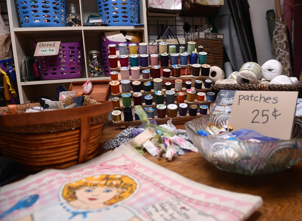 (Al Hartmann | The Salt Lake Tribune) Everyday household items are worth exploring for creating art at the Clever Octopus a creative reuse center in Murray . The shop that hosts workshops and camps for kids to engage in artisitc activities using recycled arts and crafts materials. August 17, 2017.
