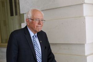 (Patrick Semansky | AP file photo) Democratic presidential candidate Sen. Bernie Sanders, I-Vt., departs Capitol Hill in Washington, Wednesday, March 18, 2020, after the Senate passed a second coronavirus response bill.