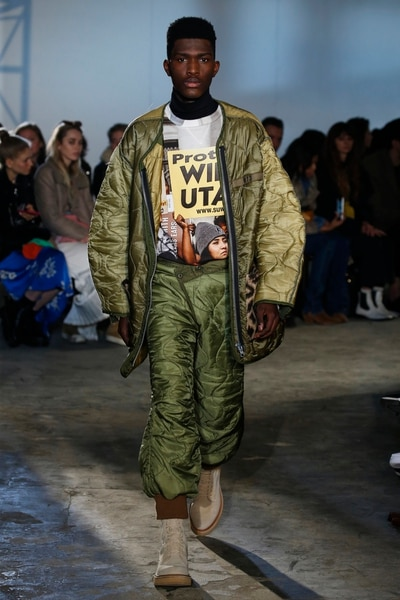 (Greg Kessler | courtesy Mode PR) New York Fashion Week models wear clothes featuring images of Utah protests. The clothes were designed by Chris Leba for R13 Denim.