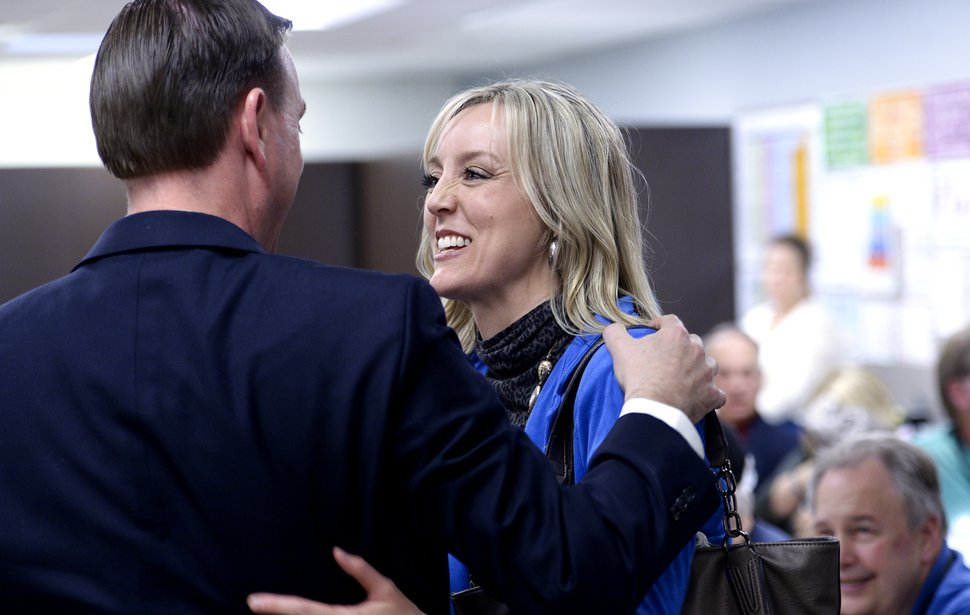 (Leah Hogsten | The Salt Lake Tribune) Utah House of Representatives District 30 incumbent candidate Mike Winder is congratulated by his sister and Salt Lake County Council chair Aimee Winder Newton at the Salt Lake County Republican Party Organizing Convention at Cottonwood High School, Saturday, April 14, 2018.