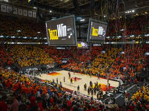(Rick Egan | The Salt Lake Tribune) Utah Jazz fans celebrate at the buzzer, as the Jazz defeated the Memphis Grizzlies 141-129, in game 2 of the NBA Playoffs at Vivint Arena, on Wednesday, May 26, 2021.