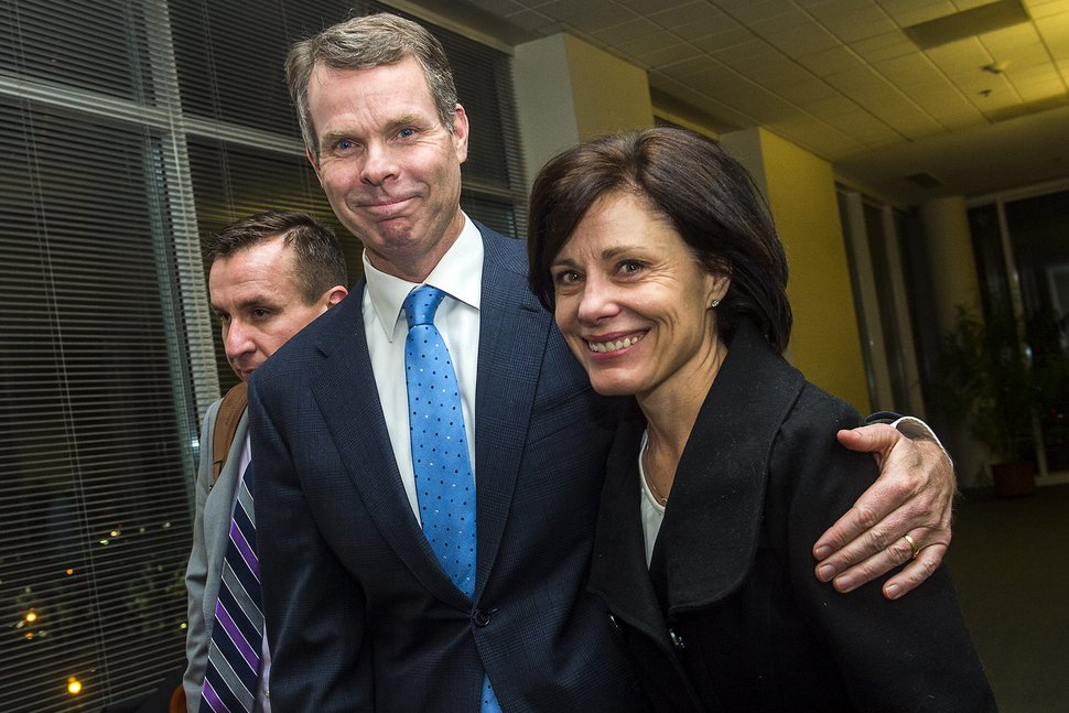 Chris Detrick | The Salt Lake Tribune Former Utah Attorney General John Swallow and his wife Suzanne leave the courtroom after his trial Thursday March 2, 2017. Jurors found former Utah Attorney General John Swallow not guilty of all counts.