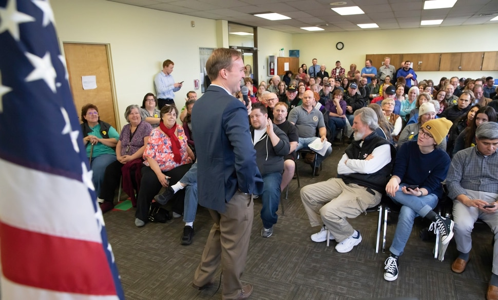 (Keith Johnson | for The Salt Lake Tribune) Newly elected Utah Congressman Ben McAdams, representing Utah's 4th District, answers questions during a town hall meeting at the Redwood Recreational Center in West Valley City, Utah on Jan. 19, 2019. McAdams held the town hall meeting to make good on a promise to be more accessible to constituents, a criticism he leveled against former congresswoman Mia Love during McAdam's campaign.