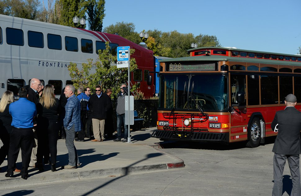 (Francisco Kjolseth | Tribune file photo) Historic-style trolley bus at the Layton FrontRunner station, Oct. 15, 2018. Ridership on the route has been growing and is up 14% over last year, UTA officials said Wednesday, Dec. 4, 2019.