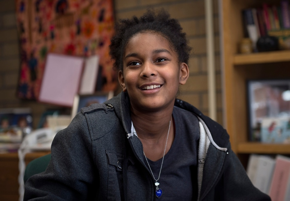 Scott Sommerdorf | The Salt Lake Tribune Sixth grader Kiana Phillips speaks about her feelings about the plans for Andrew Jackson Elementary to change it's name to Mary Jackson Elementary, Wednesday, February, 7, 2018.