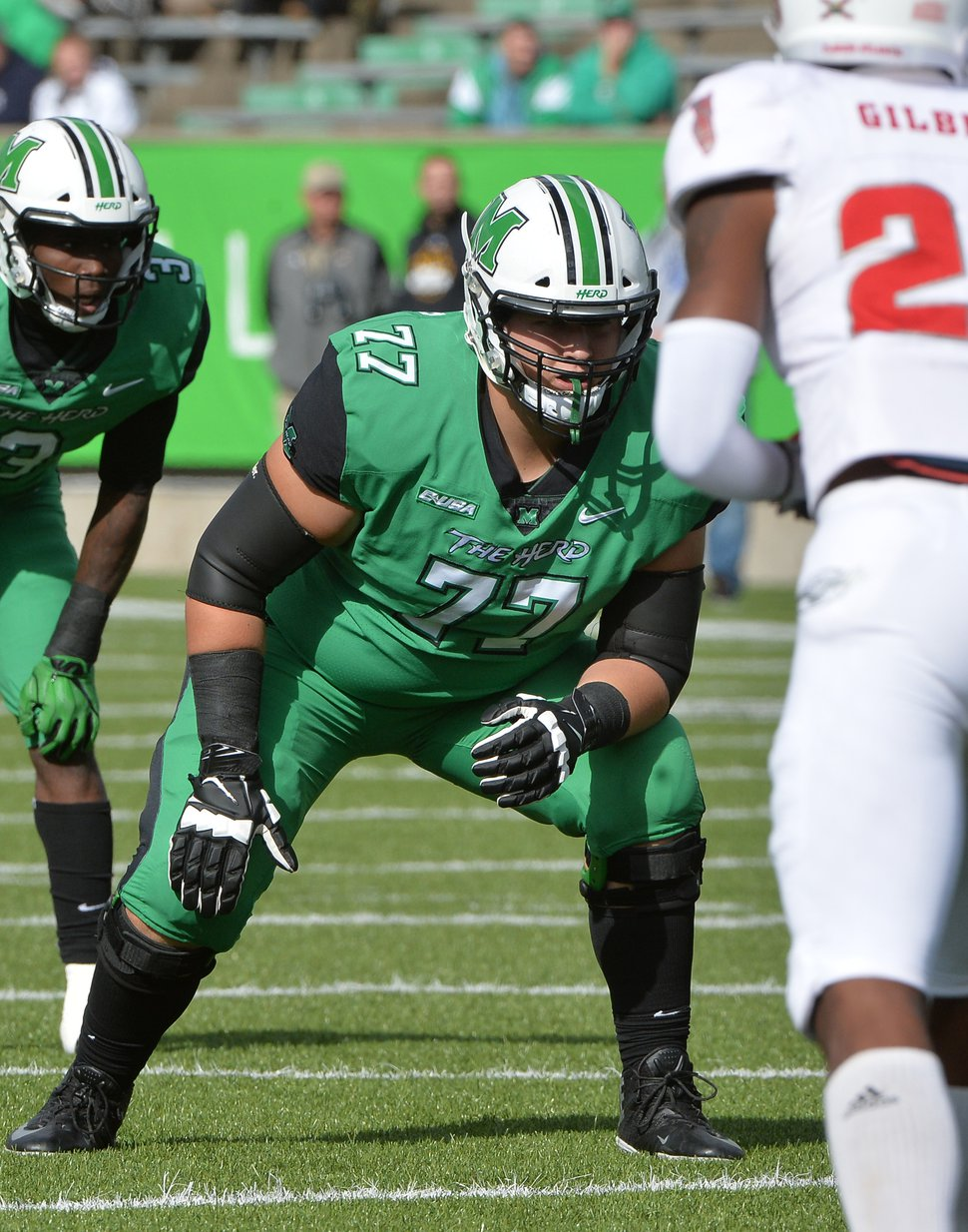 (Photo courtesy of Marshall University). Offensive lineman Alex Locklear, shown playing for Marshall, has transferred to Utah for his final season of eligibility.