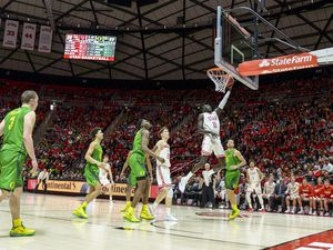 (Leah Hogsten  |  The Salt Lake Tribune) Utah Utes guard Both Gach (11) skies to the rim for the Utes to take the lead in the 2nd half. The University of Utah basketball team was defeated by Oregon, 64-69, Jan. 4, 2020, at the Jon M. Huntsman Center.
