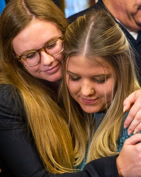 (Rick Egan | The Salt Lake Tribune) Annie Mitchell hugs Tabitha Bell after a news conference at the City and County Building, Paul Cassell made an announcement regarding the Utah Supreme Court Petition on behalf of Jane Does and House Bill 281, Wednesday, April 3, 2019.
