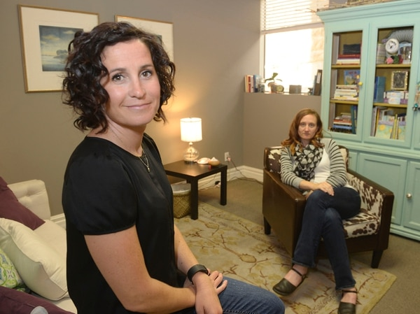 Al Hartmann | The Salt Lake Tribune Kristin Hodson, founder, executive director, left, and Mary Stanley, clinical director, art therapist, run The Healing Group, a counseling center that focuses on sexuality and intimacy as well as postpartum depression.