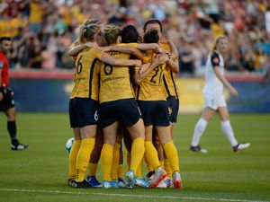 (Francisco Kjolseth  |  The Salt Lake Tribune)  Utah Royals FC forward Christen Press (23) is celebrated after scoring the first goal of the night as Utah Royals FC hosts the North Carolina Courage at Rio Tinto Stadium in Sandy, Utah on Saturday, July 27, 2019.