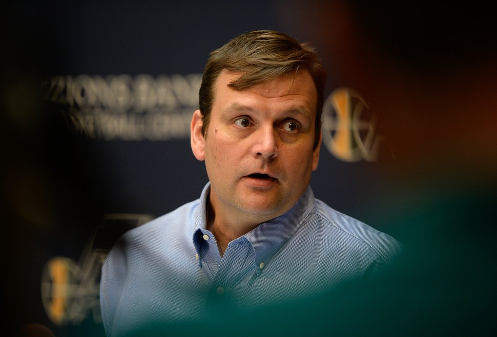 Francisco Kjolseth | The Salt Lake Tribune Utah Jazz GM Dennis Lindsey speaks with the media after the introduction of players George Hill and Joe Johnson at the Jazz training facilities on Friday, July 8, 2016.