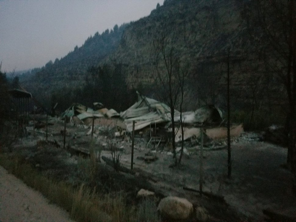 (Courtesy Ken Wallace) A view of Ken Wallace's property after his cabin was destroyed in the Dollar Ridge Fire.