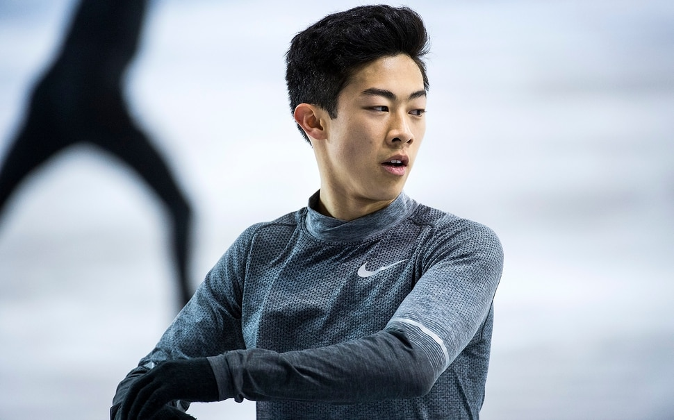 (Chris Detrick | The Salt Lake Tribune) Salt Lake City's Nathan Chen practices his Men's Single Skating Short Program for the Team Event at the Gangneung Ice Arena Thursday, February 8, 2018.