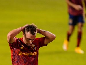 (Trent Nelson  |  The Salt Lake Tribune) Real Salt Lake forward Corey Baird (10) reacts to a missed shot on goal as Real Salt Lake hosts the Colorado Rapids at Rio Tinto Stadium in Sandy on Saturday, Sept. 12, 2020.